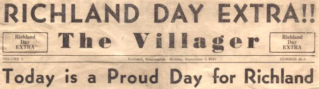 9/3/45 Richland Villager Headline